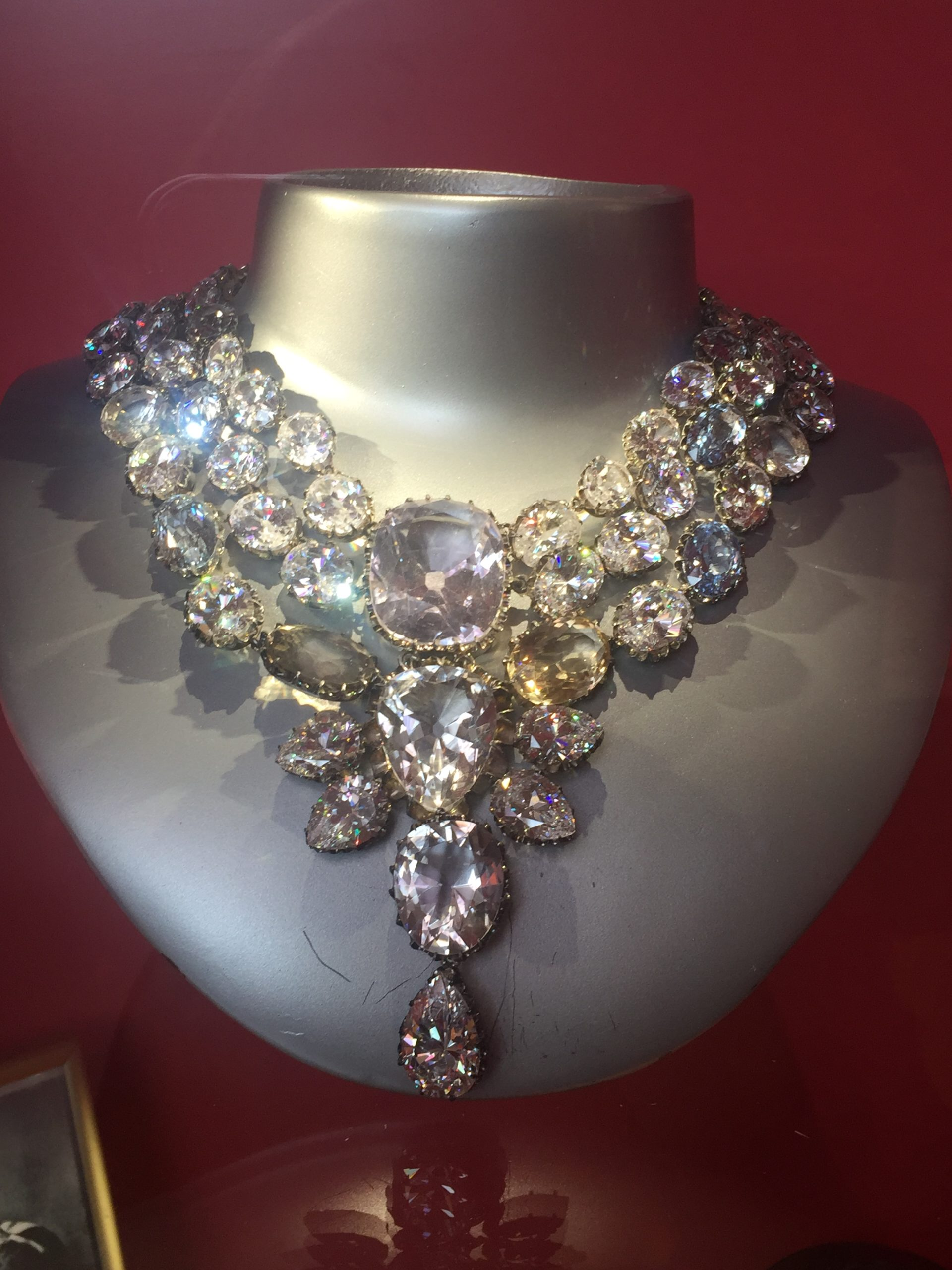 diamond necklace on display